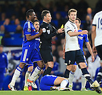 Tottenham's Eric Dier gets booked during the Barclays Premier League match at Stamford Bridge Stadium.  Photo credit should read: David Klein/Sportimage