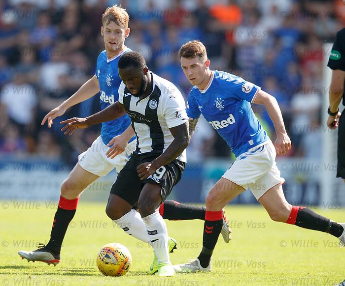 25.08.2019 St Mirren v Rangers: Junior Morias witj Filip Helander and Ryan Jack