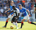25.08.2019 St Mirren v Rangers: Junior Morias witj Filip Helander and Ryan Jack