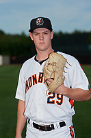 Aberdeen IronBirds pitcher Houston Roth (29) poses for a photo before a NY-Penn League game against the Vermont Lake Monsters on August 19, 2019 at Leidos Field at Ripken Stadium in Aberdeen, Maryland.  Aberdeen defeated Vermont 6-2.  (Mike Janes/Four Seam Images)