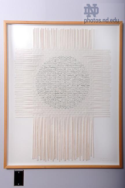 Paper artwork in Mendoza College of Business near the Giovannini Commons