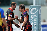 Rhodri Williams of the Dragons celebrates his first half try with team-mate Josh Lewis. Pre-season friendly match, between Ealing Trailfinders and the Dragons on August 11, 2018 at the Trailfinders Sports Ground in London, England. Photo by: Patrick Khachfe / Onside Images