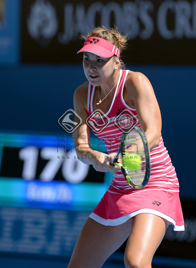 Belinda Bencic (SUI) round 1 action<br /> 2015 Australian Open Tennis <br /> Grand Slam of Asia Pacific<br /> Melbourne Park, Vic Australia<br /> Monday 19 January 2015<br /> &copy; Sport the library / Jeff Crow