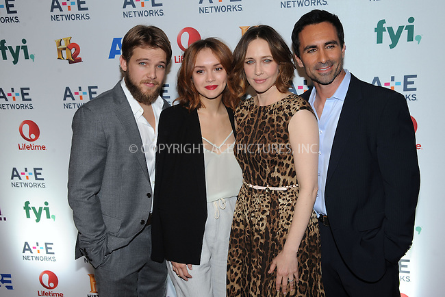 WWW.ACEPIXS.COM<br /> May 8, 2014 New York City<br /> <br /> Max Thieriot, Olivia Cooke,Vera Farmiga and Nestor Carbonell  attending the A+E Networks 2014 Upfronts at the Park Avenue Armory on May 8, 2014 in New York City.<br /> <br /> Please byline: Kristin Callahan<br /> <br /> ACEPIXS.COM<br /> <br /> Tel: (212) 243 8787 or (646) 769 0430<br /> e-mail: info@acepixs.com<br /> web: http://www.acepixs.com