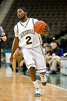January 14, 2010:    Jacksonville guard Russell Powell (2) dribbles up court during Atlantic Sun conference game action between the Jacksonville Dolphins and the Lipscomb Bisons at Veterans Memorial Arena in Jacksonville, Florida.  Jacksonville defeated Lipscomb 79-73.