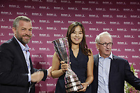 Defending Champion In Gee Chun (KOR) returns the trophy to Franck Riboud Chairman and Jacques Bungert Vice-Chairman of the Tournament, at the opening ceremony of The Evian Championship 2017, the final Major of the ladies season, held at Hotel Royal, Evian-les-Bains, France. 12th September 2017.<br /> Picture: Eoin Clarke | Golffile<br /> <br /> <br /> All photos usage must carry mandatory copyright credit (&copy; Golffile | Eoin Clarke)
