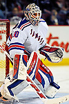 27 March 2007: New York Rangers goaltender Henrik Lundqvist of Sweden warms up prior to facing the Montreal Canadiens at the Bell Centre in Montreal, Quebec, Canada...Mandatory Photo Credit: Ed Wolfstein Photo *** Editorial Sales through Icon Sports Media *** www.iconsportsmedia.com
