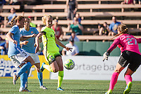 Seattle, WA - Sunday, April 17, 2016: Seattle Reign FC forward Beverly Yanez (17) looks towards the goal during the second half of the match. Sky Blue FC defeated the Seattle Reign FC 2-1 during a National Women's Soccer League (NWSL) match at Memorial Stadium.