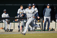 Leon Byrd (1) of the Rice Owls hustles towards home plate to score a run in the first inning against the Charlotte 49ers at Hayes Stadium on March 6, 2015 in Charlotte, North Carolina.  The Owls defeated the 49ers 4-2.  (Brian Westerholt/Four Seam Images)