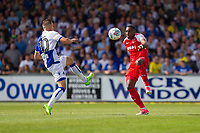 Billy Bodin of Bristol Rovers challenges Amari'i Bell of Fleetwood Town during the Sky Bet League 1 match between Bristol Rovers and Fleetwood Town at the Memorial Stadium, Bristol, England on 26 August 2017. Photo by Mark  Hawkins.