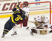 Jace Hennig (Merrimack - 9), Ian McCoshen (BC - 3), Thatcher Demko (BC - 30) - The Boston College Eagles defeated the visiting Merrimack College Warriors 2-1 on Wednesday, January 21, 2015, at Kelley Rink in Conte Forum in Chestnut Hill, Massachusetts.
