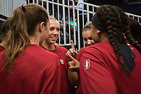 SAN FRANCISCO, CA - NOVEMBER 09: San Francisco, CA - November 9, 2019: Warm-ups at the Chase Center. The Stanford Cardinal defeated the USF Dons 97-71. during a game between University of San Francisco and Stanford Basketball W at Chase Center on November 09, 2019 in San Francisco, California.