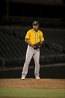 AZL Athletics relief pitcher Jorge Martinez (51) prepares to deliver a pitch during an Arizona League game against the AZL Cubs 1 at Sloan Park on June 28, 2018 in Mesa, Arizona. The AZL Athletics defeated the AZL Cubs 1 5-4. (Zachary Lucy/Four Seam Images)