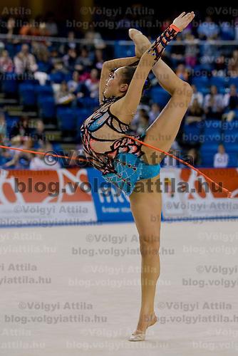 Aliya Garayeva (AZE) performs with the rope during the final of the 2nd Garantiqa Rythmic Gymnastics World Cup held in Debrecen, Hungary. Sunday, 07. March 2010. ATTILA VOLGYI