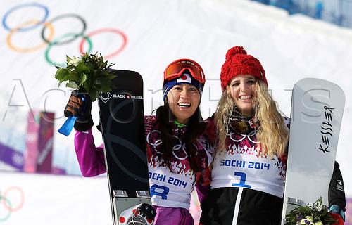 19.02.2014. Sochi, Russia.  Rosa Khutor   Sochi Winter Olympic Wiomens Giant Parallel Slalom Snowboarding.  Tomoka Takeuchi (JPN, L) und Patrizia Kummer (SUI, R) celebrate on the podium