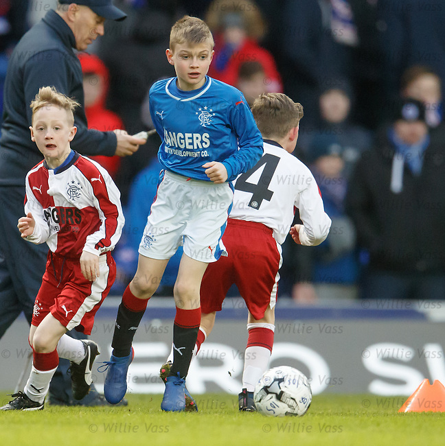 Action from the Rangers under 10 match at half-time at Ibrox Stadium