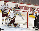 Peter Harrold, Cory Schneider, NU ? - The Boston College Eagles defeated Northeastern University Huskies 5-3 on Saturday, November 19, 2005, at Kelley Rink in Conte Forum at Chestnut Hill, MA.