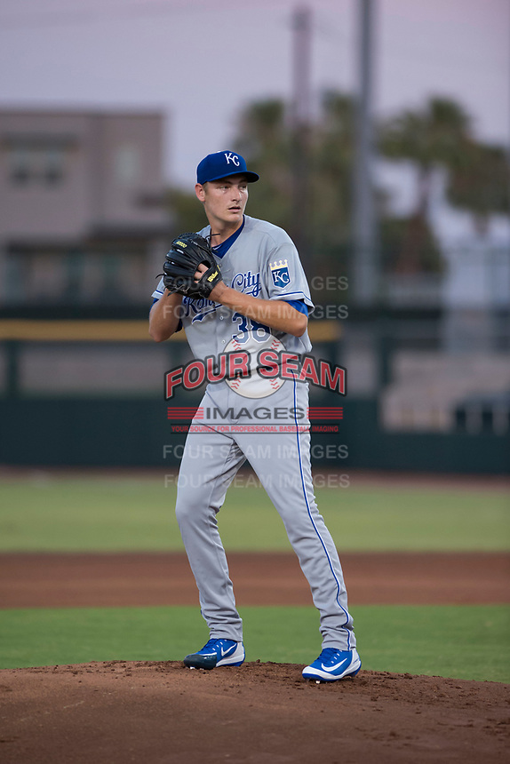 AZL Royals starting pitcher Zach Haake (38) prepares to deliver a pitch during an Arizona League game against the AZL Giants Black at Scottsdale Stadium on August 7, 2018 in Scottsdale, Arizona. The AZL Giants Black defeated the AZL Royals by a score of 2-1. (Zachary Lucy/Four Seam Images)