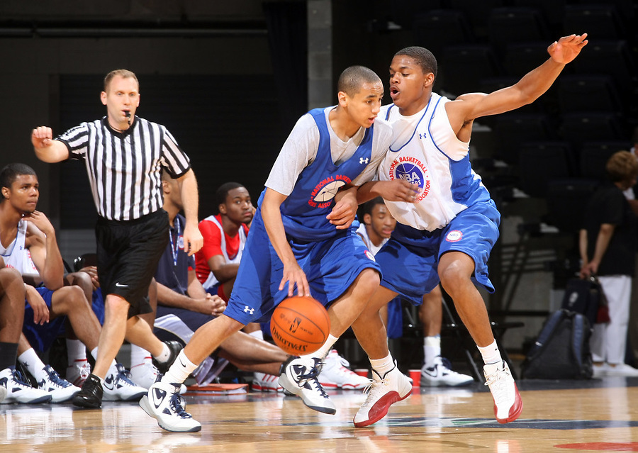 Marcus Paige at the NBPA Top100 camp at the John Paul Jones Arena Charlottesville, VA. Visit www.nbpatop100.blogspot.com for more photos. (Photo © Andrew Shurtleff)