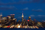 Features from Weehawken of New York City skyline and its moon