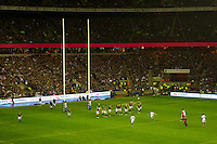 Owen Farrell of England takes the final penalty kick with less than a minute a half to the final whistle during the QBE Autumn International match between England and South Africa at Twickenham on Saturday 24 November 2012 (Photo by Rob Munro)