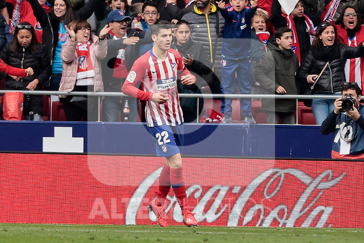 Atletico de Madrid's Alvaro Morata celebrates an invalid goal during La Liga match between Atletico de Madrid and Real Madrid at Wanda Metropolitano Stadium in Madrid, Spain. February 09, 2019. (ALTERPHOTOS/A. Perez Meca)