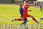 Tralee Dynamos Jamie Barry and Limerick F.C.'s Jamie Finn..