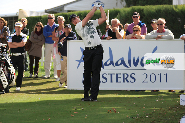 Oliver Fisher (ENG) during the 1st day at the  Andalucía Masters at Club de Golf Valderrama, Sotogrande, Spain. .Picture Fran Caffrey www.golffile.ie