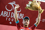 Andrea Guardini (ITA) Astana wins Stage 1, The ADNOC Stage, of the 2015 Abu Dhabi Tour and dons the race leader's Red Jersey, running 174 km from Qasr Al Sarab to Madinat Zayed, Abu Dhabi. 8th October 2015.<br /> Picture: ANSA/Angelo Carconi | Newsfile