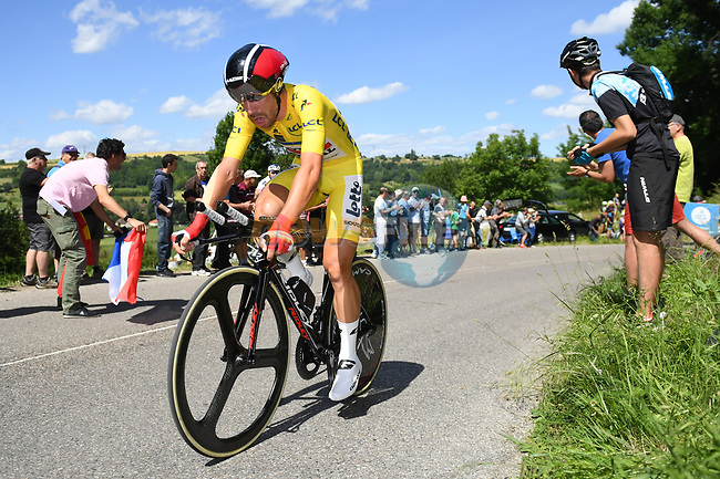 Race leader yellow jersey Thomas De Gendt (BEL) Lotto-Soudal in action during Stage 4 of the Criterium du Dauphine 2017, an individual time trial running 23.5km from La Tour-du-Pin to Bourgoin-Jallieu, France. 7th June 2017. <br /> Picture: ASO/A.Broadway | Cyclefile<br /> <br /> <br /> All photos usage must carry mandatory copyright credit (&copy; Cyclefile | ASO/A.Broadway)