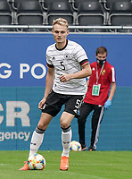 Germany's Amos Pieper (5) with the ball  during a soccer game between the national teams Under21 Youth teams of Belgium and Germany on the 5th matday in group 9 for the qualification for the Under 21 EURO 2021 , on tuesday 8 th of September 2020  in Leuven , Belgium . PHOTO SPORTPIX.BE | SPP | SEVIL OKTEM