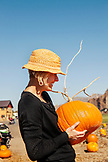 USA, Oregon, Bend, a woman chooses a pumpkin at the annual pumpkin patch located in Terrebone near Smith Rock State Park