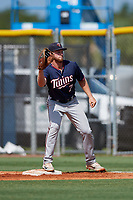 GCL Twins first baseman Gabe Snyder (7) waits to receive a throw during a game against the GCL Rays on August 9, 2018 at Charlotte Sports Park in Port Charlotte, Florida.  GCL Twins defeated GCL Rays 5-2.  (Mike Janes/Four Seam Images)