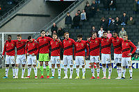 MK Dons players stand for a minutes silence before MK Dons vs Macclesfield Town, Sky Bet EFL League 2 Football at stadium:mk on 17th November 2018
