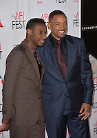 Singer/songwriter Leon Bridges (left) &amp; actor Will Smith at the premiere of &quot;Concussion&quot;, part of the AFI FEST 2015, at the TCL Chinese Theatre, Hollywood.<br /> November 10, 2015  Los Angeles, CA<br /> Picture: Paul Smith / Featureflash