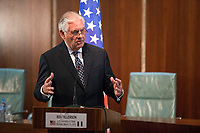 In this photo provided by the United States Department of State, U.S. Secretary of State Rex Tillerson delivers remarks at a joint press availability at the Aso Rock Presidential Villa, Abuja, Nigeria on March 12, 2018. US President Donald J. Trump announced on Tuesday, March 13, 2018 that he is removing Tillerson from his post and replacing him with CIA Director Mike Pompeo.<br /> Credit: US Department of State via CNP /MediaPunch