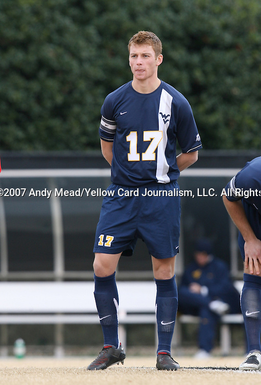 02 December 2007: West Virginia's Andrew Halsell. The Wake Forest University Demon Deacons defeated the West Virginia University Mountaineers 3-1 at W. Dennie Spry Soccer Stadium in Winston-Salem, North Carolina in a Third Round NCAA Division I Mens Soccer Tournament game.