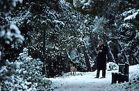 Pictured: A man walks his dog in Lycabetus Hill in Athens, Greece. Tuesday 10 January 2017<br />