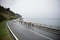 breakaway group racing along the Mediterranean on a rainy day<br /> <br /> 106th Milano - San Remo 2015