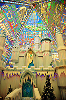 Dubai.  Christmas grotto based on the Narnia stories at Wafi Mall with its atrium roof in stained glass illustrating ancient Egyptian themes..