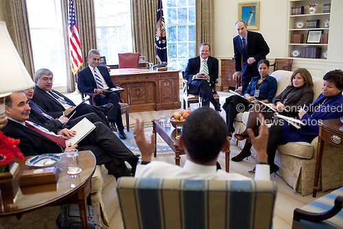 President Barack Obama meets with senior advisors in the Oval Office. 2/2/09..Mandatory Credit: Pete Souza - White House via CNP
