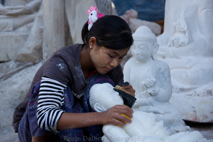 marble sculptures along Marble street in Mandalay, Myanmar