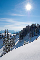 Germany, Bavaria, Upper Bavaria, Tegernseer Valley, winter at Wallberg mountain, view into Bavarian and Austrian Alps