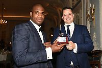 Daniel Dubois (L) receives the Young Boxer of the Year award from Andy Scott during the Boxing Writers Club Annual Dinner at the Savoy Hotel on 7th October 2019