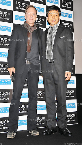 "Kiefer Sutherland, Masanobu Katsumura, Sep 04, 2012 : Kiefer Sutherland, Tokyo, Japan, September 4, 2012 : Actor Kiefer Sutherland(L) and Masanobu Katsumura attends a stage greeting during a preview event for the TV drama ""Touch"" in Tokyo, Japan, on September 4, 2012."