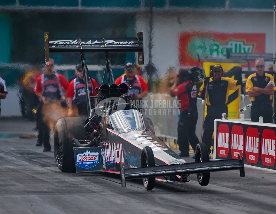 Mar 15, 2019; Gainesville, FL, USA; NHRA top fuel driver Dom Lagana during qualifying for the Gatornationals at Gainesville Raceway. Mandatory Credit: Mark J. Rebilas-USA TODAY Sports