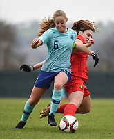 20190206 - TUBIZE , BELGIUM : Belgian Lea Cordier (R) and Dutch Dana Foederer (L) pictured during the friendly female soccer match between Women under 17 teams of  Belgium and The Netherlands , in Tubize , Belgium . Wednesday 6th February 2019 . PHOTO SPORTPIX.BE DIRK VUYLSTEKE