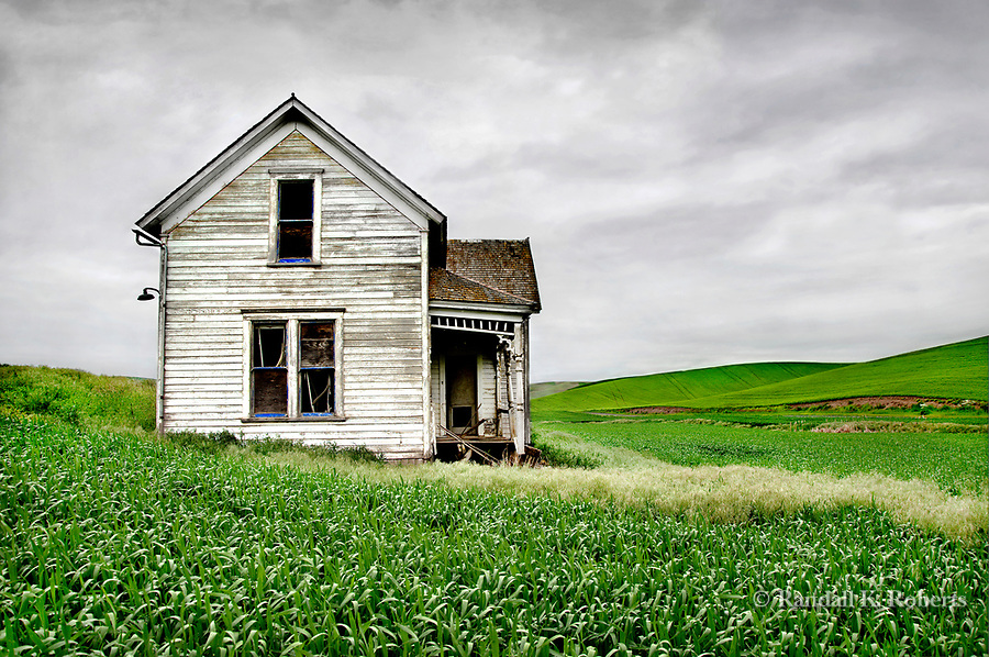 Abandoned farmhouse in farm field, Palouse Country, Washington