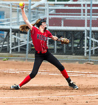 STRATFORD, CT-060518JS01--  Wamogo's Samantha Sylvester (3) delivers a pitch during their Class S semifinal game against Stafford  Wednesday at DeLuca Field in Stratford. <br /> Jim Shannon Republican American