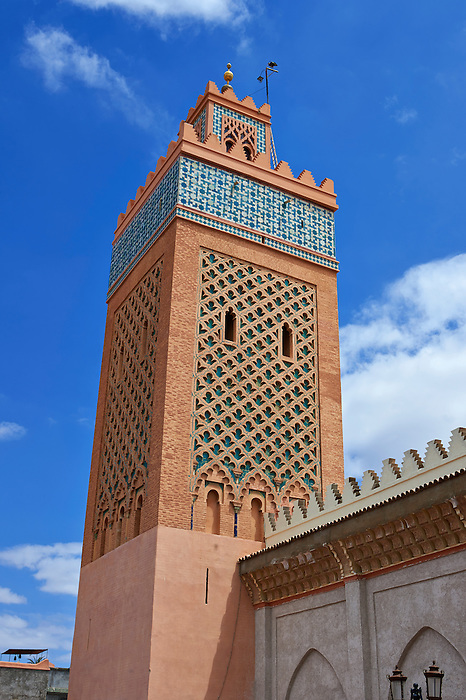 Square minaret of the Almohad mosque of the Kasba, Marrakech, Morocco